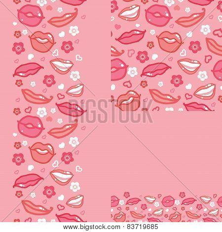 Lips set of seamless pattern backgrounds and borders