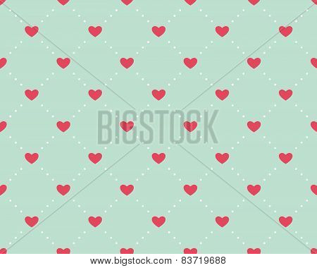 Seamless pattern of hearts on a light green background