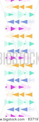 Textured arrows stripes vertical border seamless pattern background