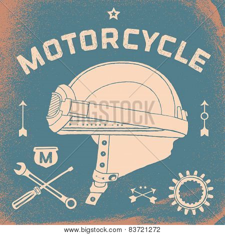 Vintage race motorcycle for printing