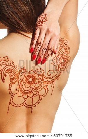 Naked Back Of Young Girl With Henna Mehendi