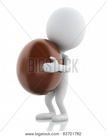 3d white people holds Easter egg in a hand.