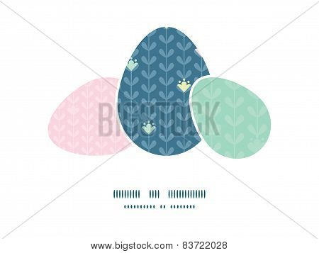 Vector blloming vines stripes three matching Easter egg sillhouettes frame card template