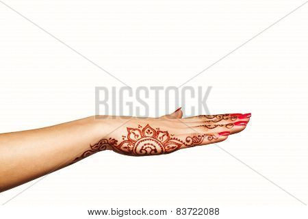 Wrist And Hand Of Young Girl With Henna Mehendi