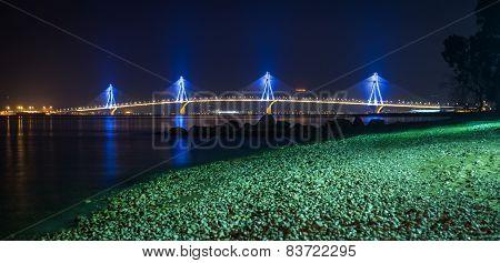 Rio-antirio Bridge At Night, Greece