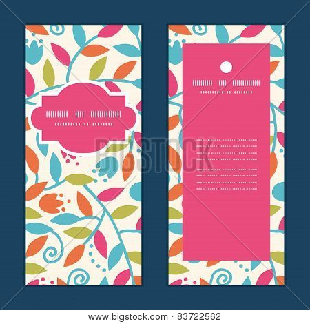 Vector colorful branches vertical frame pattern invitation greeting cards set