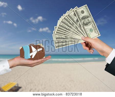 Hand Giving Money For Travel