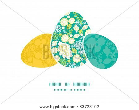 Vector emerald flowerals three matching Easter egg sillhouettes frame card template