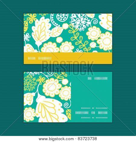 Vector emerald flowerals horizontal stripe frame pattern business cards set