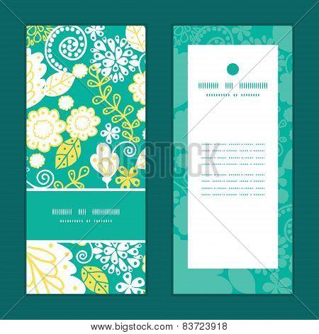 Vector emerald flowerals vertical frame pattern invitation greeting cards set