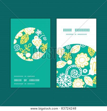 Vector emerald flowerals vertical round frame pattern business cards set