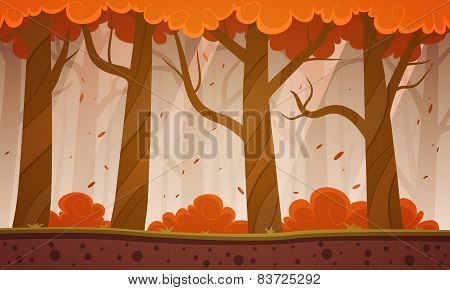 Autumn Forest Cartoon Background