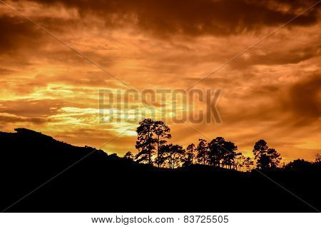 Sun behind a Mountain Silhouette