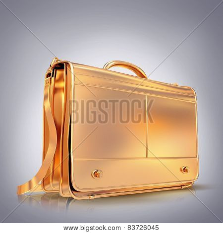 Beautiful Golden Briefcase Representing  Business On Grey  Background