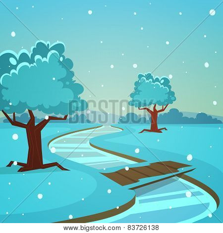 Cartoon Winter Landscape