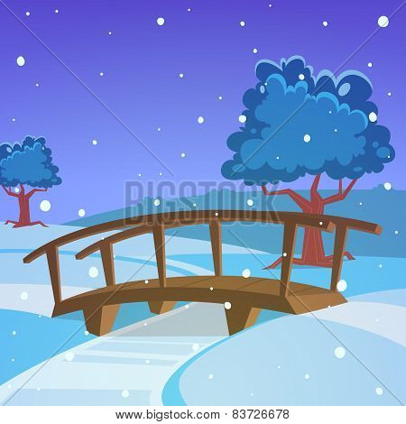 Winter landscape with bridge