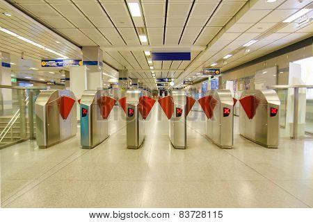 Entrance of metro railway station MRT rail in Thailand