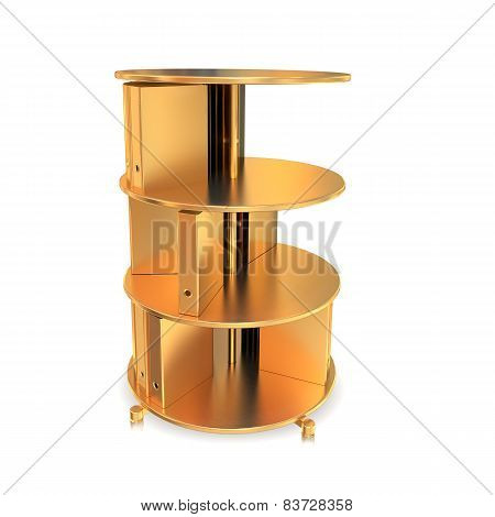 Golden Box Organizer On White  Background.