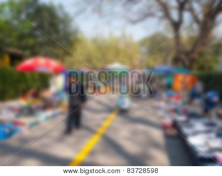 Natural Bright Blurred Background Of Second Hand Market.
