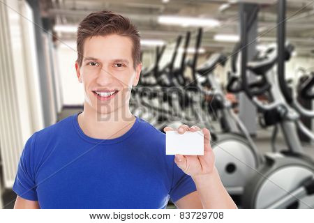 Fit Man Holding Blank Visiting Card