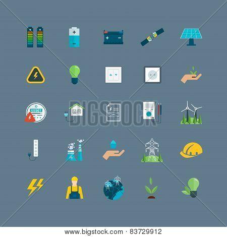 Power energy, eco friendly icons