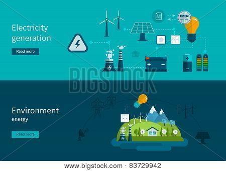 Flat design vector concept illustration with icons of ecology, environment and electricity generatio