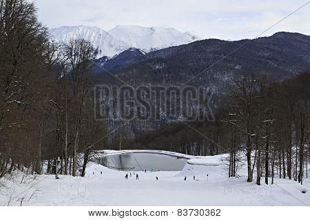 Lake in Rosa Khutor Alpine Resort