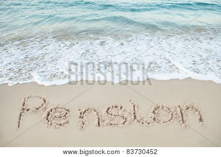 Word Honeymoon Written On Beach