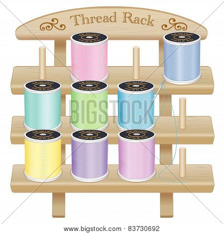Wood Rack, Pastel Sewing Threads, Silver Needle