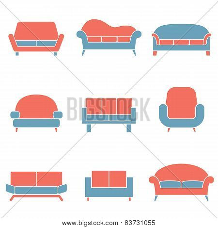 Sofa Icons Duotone.