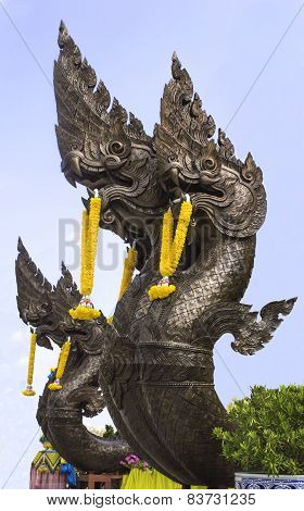 King Of Nagas Statue, Thai Traditional Style In Budha