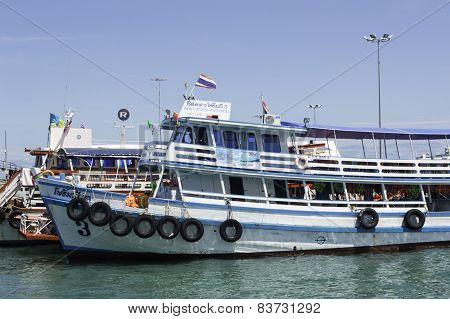 Koh Larn , Pattaya -august 18 ; Tourists Are Taking A Rest On Ferry Boat On August 18, 2014 In Koh L