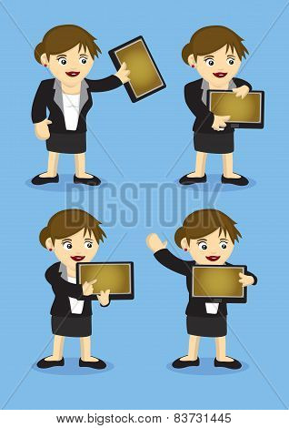 Woman Holding A Digital Tablet Vector Cartoon Character
