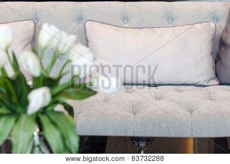 Sofa With Pillows And Flower, Interior Decoration