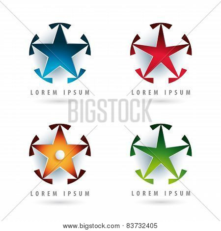 Set Of Modern Logos With Star Shape And 3D Effect