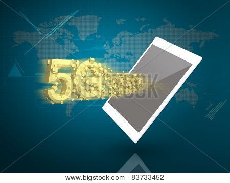 Tablet Pc With 5G And Super Speed Downloading On Digital World Background