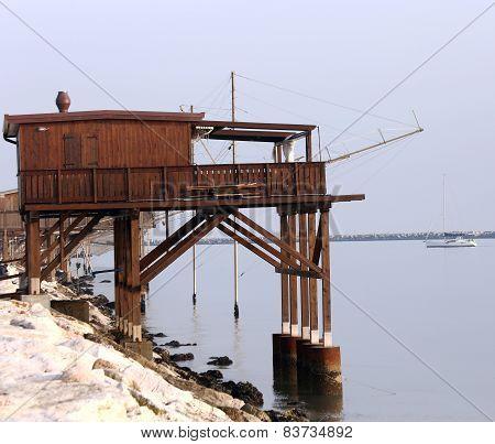 Huge Wooden Stilt House On The Seashore