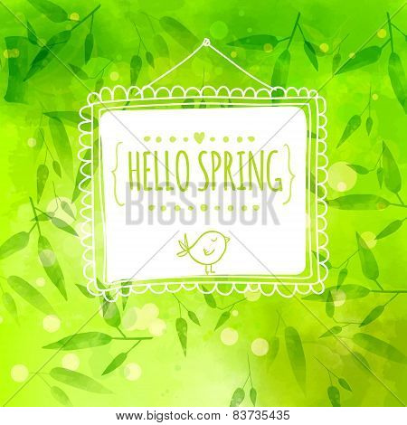 Bright green background with bamboo leaves and stems. White hand drawn frame with bird. Vector textu