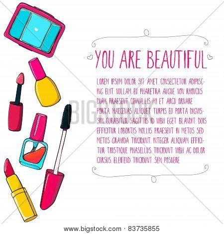 Makeup tools vector layout. Hand drawn illustrations of lipstick, mascara, nail polish tube and eyes
