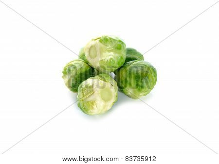 Boiled Brussels Sprouts On White Background