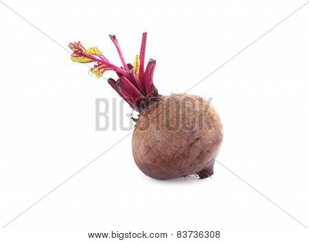Whole Beetroot With Leaf On White Background