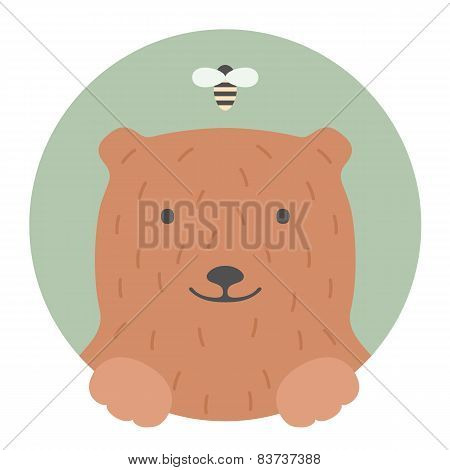 Animal set. Portrait in flat graphics - Bear