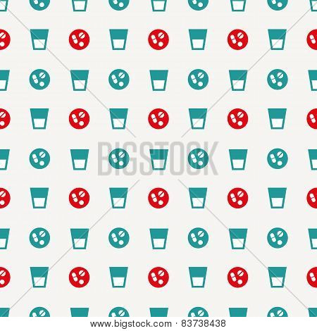glass of water and pills pattern