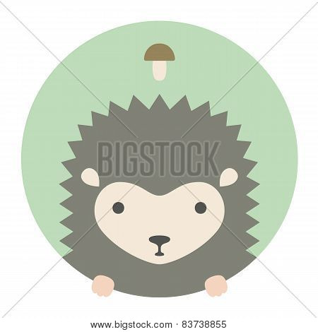 Animal set. Portrait in flat graphics - Hedgehog