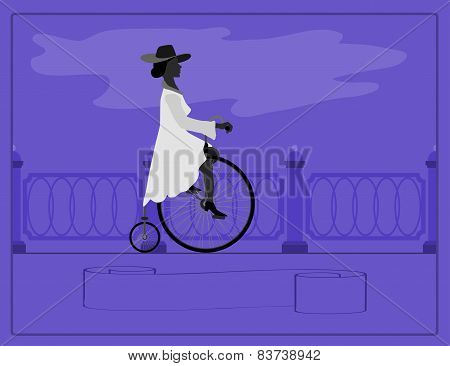 Young lady and retro bike