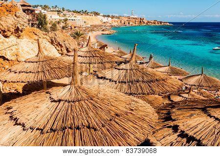 Egyptian sunbeds on the beach, Sharm El Sheikh