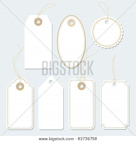 Set Of Blank Paper Tags, Labels, Isolated Vector Elements