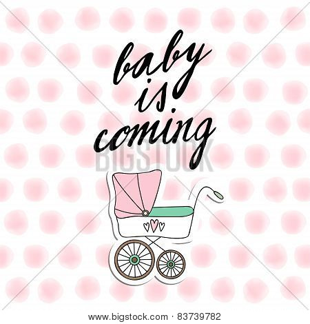 Baby Shower Invitation, Birthday Card With Baby Carriage And Watercolor Dots, Vecto