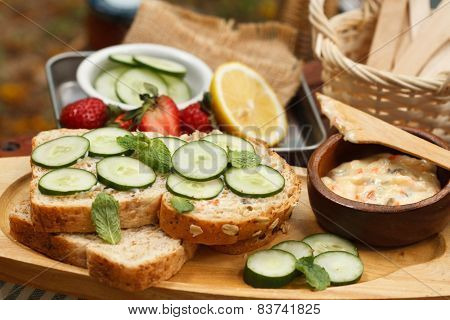Cucumber Sandwich On Wholewheat Bread