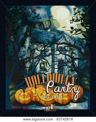 Halloween poster with trees, pumpkins, bats, moon, autumn leaves, spiders.